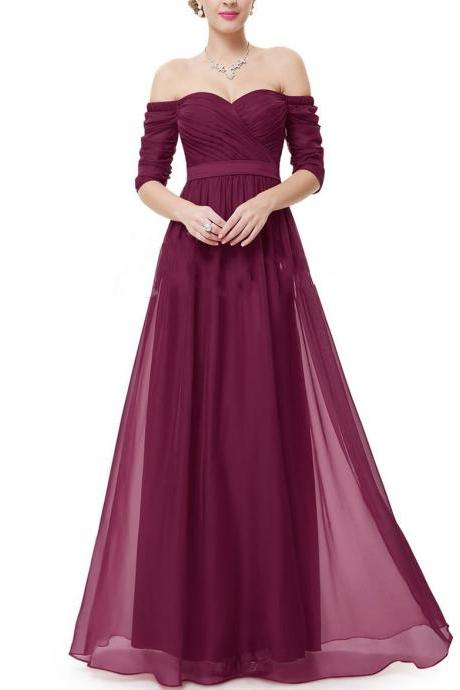 Charming Burgundy Chiffon Prom Dress, Woman Maxi Dress, Long Dress, Woman Dress for Prom, Special Occasion Dress, Formal Dress for Weddings and Events