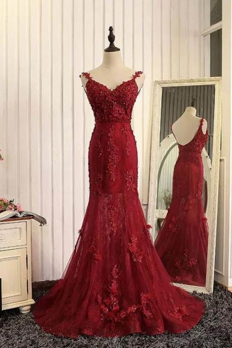Red Tulle Lace Applique V-neck Open Back Long Prom Dresses, Mermaid Dresses, Burgundy Prom Dress, Charming Lace Prom Dress, Formal Dress, Woman Evening Dress