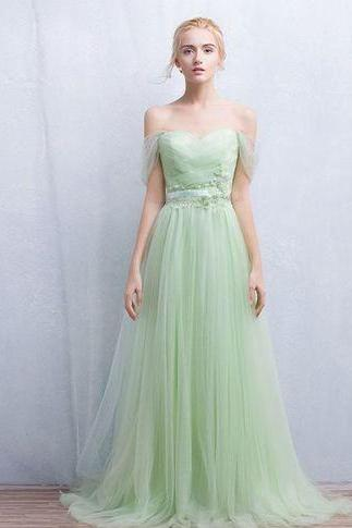 Custom Elegant Green Tulle Prom Dress,Off the Shoulder Evening Dress,Backless Prom Dress, Long Dress for Prom, Formal Dresses, Wedding Party Dress