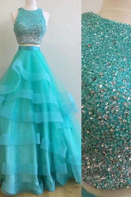 Green Two Pieces Sequin Long Prom Gown, Beading Prom Dress. Two Piece Prom Dress, Green Evening Dress, Senior Prom Dress, Prom Dress for Teens