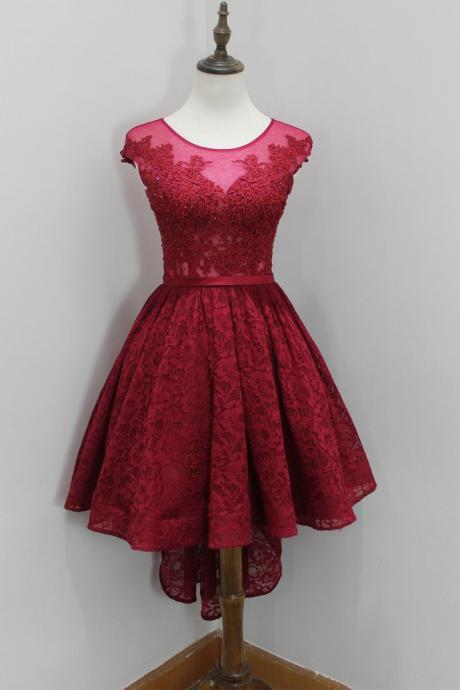 Wine Red Lace Prom Dresses, High Low Prom Dress, Round Neckline Prom Dresses, Burgundy Homecoming Dresses, High Low Formal Dresses, Short Evening Dress