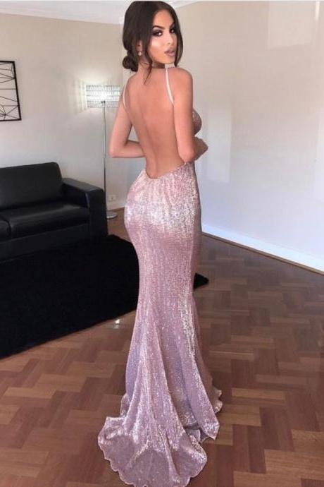 Sexy Spaghetti Straps Backless Sequined Sweep Train Prom Dress, Open Back Prom Dress, Sexy Prom Dress, Sexy Woman Evening Dress, Sequins Prom Dress, Long Formal Dress, Party Dress