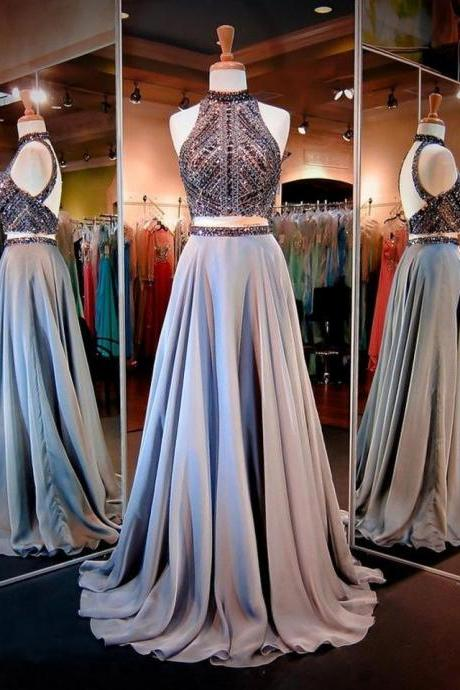 A-Line Prom Dresses, Women's Halter Prom Dress, Crystals Sequins Beaded Prom Dress, Open Back Two Pieces Long Prom Dress, Party Dresses, Senior Prom Dress