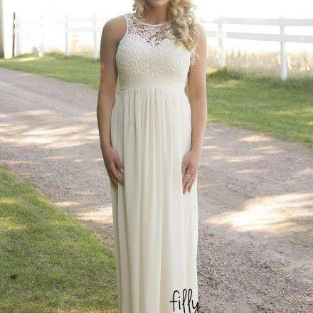 Country Style Bridesmaid Dresses, Cheap Bridesmaid Dresses. Spring Summer Plus Size Bridesmaid Gown, Lace Top High Waist Maternity Chiffon Long Garden Beach Dresses