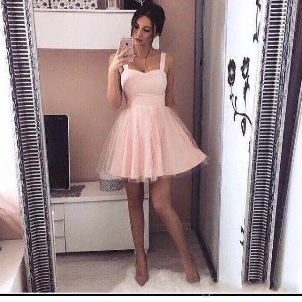 2017 Chic Homecoming Dresses, Pink Homecoming Dresses, Mini Short Homecoming Dresses, A Line Tulle Spaghetti Straps Cheap Party Gowns, Cocktail Dresses, Short Party Dress