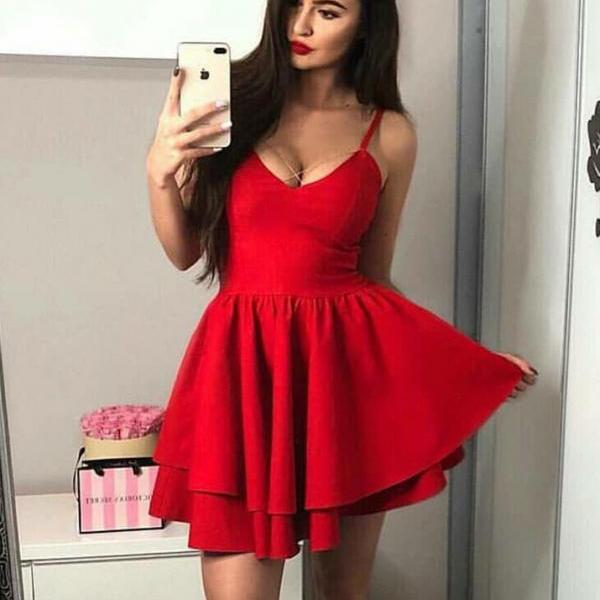 Cute A-Line Spaghetti Straps Tiered Red Satin Short Homecoming Party Dress