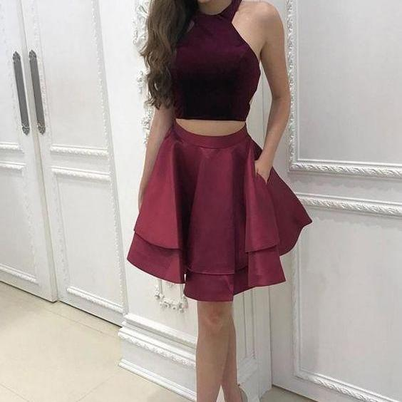 Cute Burgundy Two Pieces Halter Homecoming Dress Short Prom Dress Party Gowns