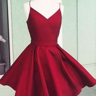Simple A-Line V-Neck Burgundy Satin Short Homecoming Party Dress with Bow Back