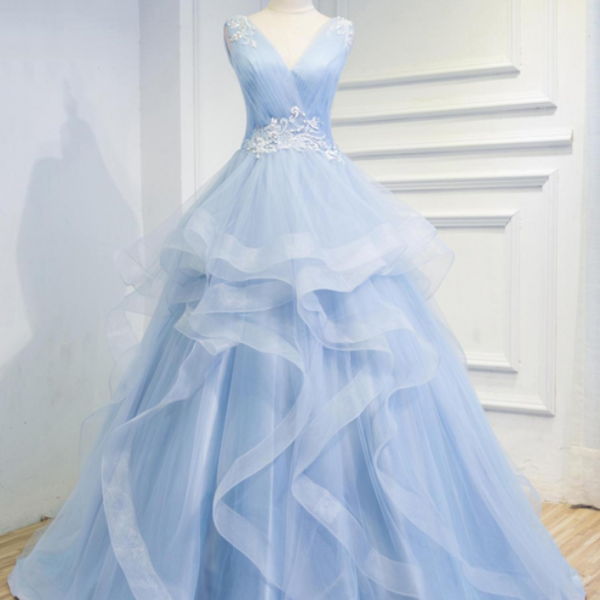 Elegant Baby Blue A-line Long Prom Dresses with Ruffles and Embroidery