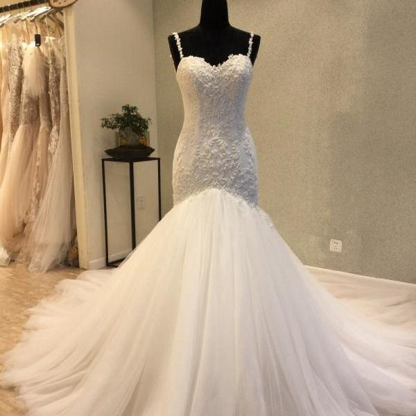 Free Shipping Sexy Spaghetti Strap Lace Appliqués Ivory Tulle Mermaid Wedding Dress Open Back