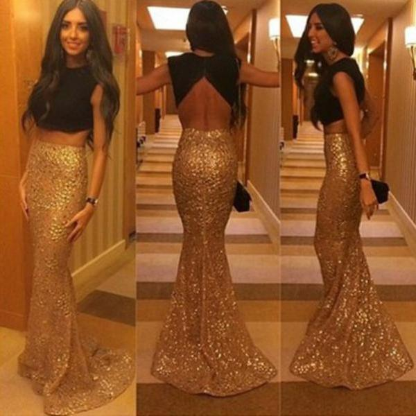 2015 New Gold Sequined Black Two piece Prom Dresses, Backless Mermaid Long Evening Dresses Low Back Sexy Party Dresses Prom Dresses Vestidos