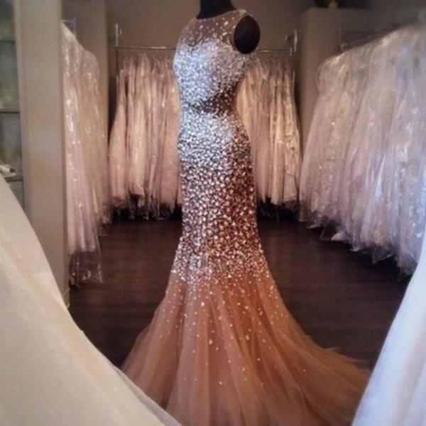 Exquisite Mermaid Prom Dresses Champagne Rhinestone Luxury Heavy Beaded Sexy Backless With Beads Sequins Custom Made Formal Dresses Graduation Dresses