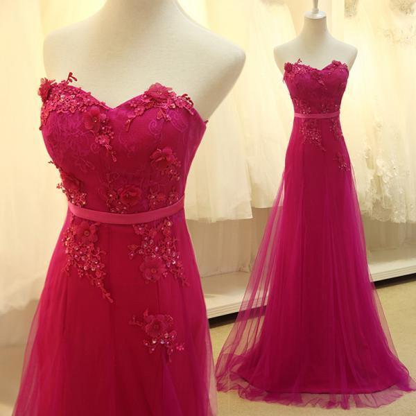 Custom Made Rose Red Tulle Long Prom Dress with Lace Applique, Delicate Formal Dresses, Evening Gowns