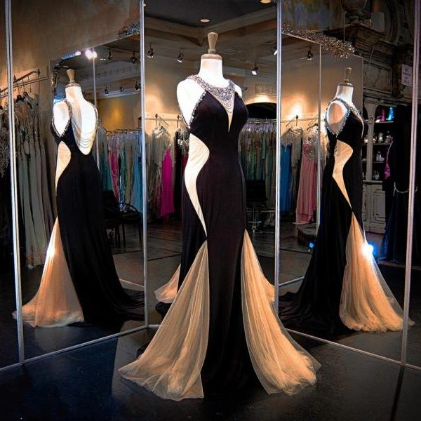 Black Nude Evening Gown Jersey High Beaded Neckline Prom Dresses Illusion Beaded Back Illusion Cutouts Evening Dress
