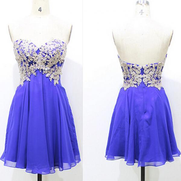 Royal Blue Lace Appliques Chiffon Homecoming Dresses,A-Line Graduation Dresses,Homecoming Dresses,Short/Mini Homecoming Dress, Christmas Party Dresses