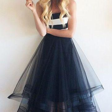 2016 New Arrival Tulle Prom Dresses, Floor-Length A-Line Prom Dresses, Sexy Prom Dresses,The Charming Evening Dresses
