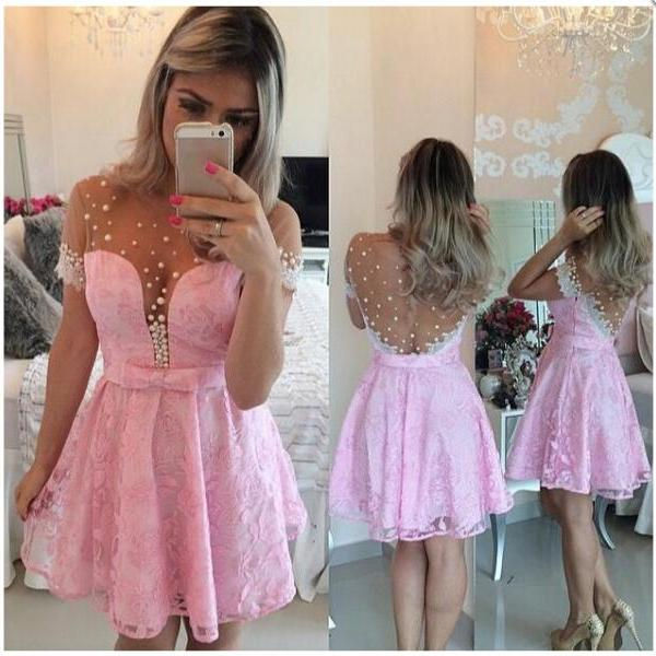 Hot Sales Pink Cap Sleeves Homecoming Dresses,Lace Short Prom Dresses,Deep V-neck Cocktail Dresses,Beaded Graduation Dresses