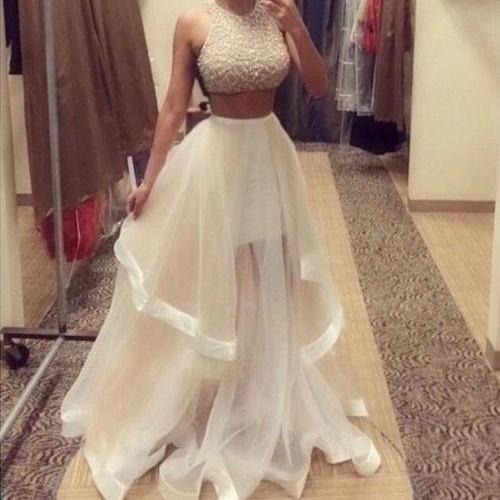 Hot Selling Beading Two Pieces Prom Dresses, Ball Gown Prom Dress,Charming Backless Evening Prom Gowns,Lace Sleeveless A-line Open Back Prom Dresses