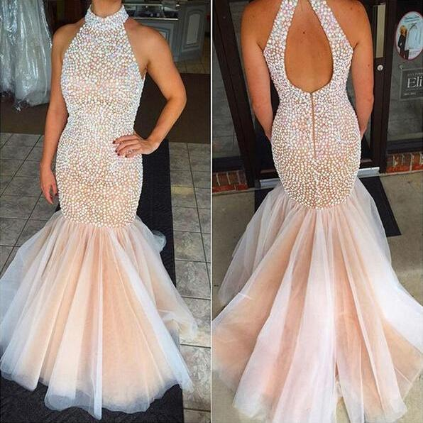Real Sexy Prom Dresses,Senior Prom Dress, Mermaid Beaded Prom Dress,Sheath Evening Dresses,Open Back Evening Gowns,Long Party Dresses,Party Gowns