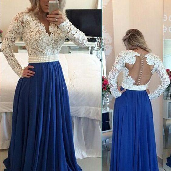 Hot Sale Prom Dresses 2016, Black Prom Dress, Pink Prom Dress, Royal Blue Prom Dress, Beading Prom Dresses, Lace and Chiffon Prom Dress, Long Sleeves Prom Dress, Long Prom Gowns, Prom Dress for Teens