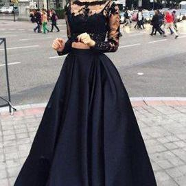 Two Pieces Prom Dresses, 2 Pieces Pink Prom Dresses, Sexy Black Prom Dress, Black Two Pieces Prom Dress, Beading Prom Dress, Hot Graduation Dresses, Long Evening Gown