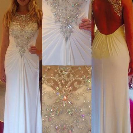 Fashion Sparkle Open Back Prom Dress, Charming Formal Dress, Girly Homecoming Dress, Dress of Girl, White Prom Dress, Beading Prom Dress