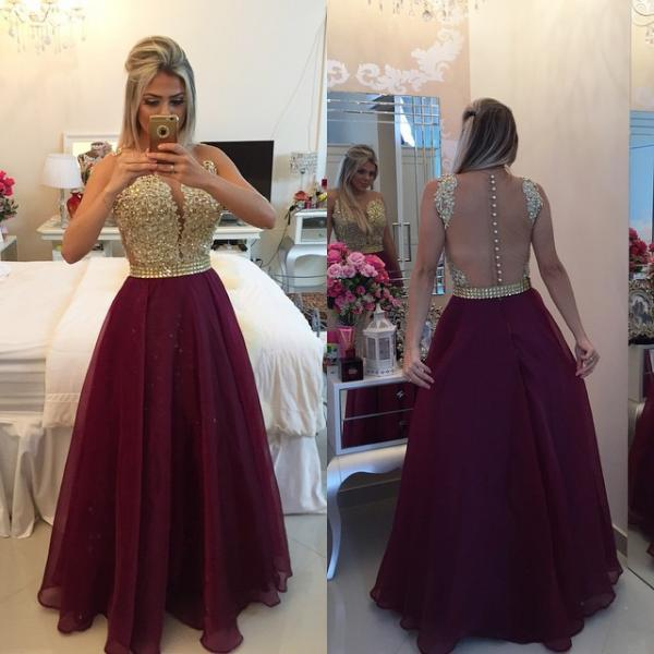 Sweetheart Burgundy Chiffon Long Prom Dress Popular Plus Size Formal Evening Dresses