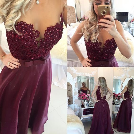 Maroon A-Line Prom Dresses 2016 Sheer Illusion Floor Length Beaded Burgundy Evening Gowns