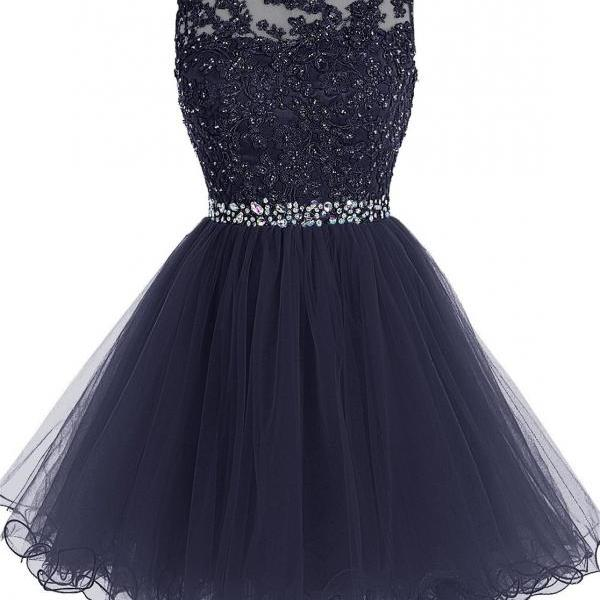 Short Beaded Prom Dress Tulle Applique Evening Dress Navy, Short Homecoming Dresses, Party Dresses, Navy Prom Dress