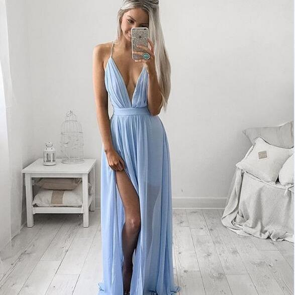 Simple A-line V Neck Chiffon Backless Long Blue Prom Dress ,Evening Dress for Teens