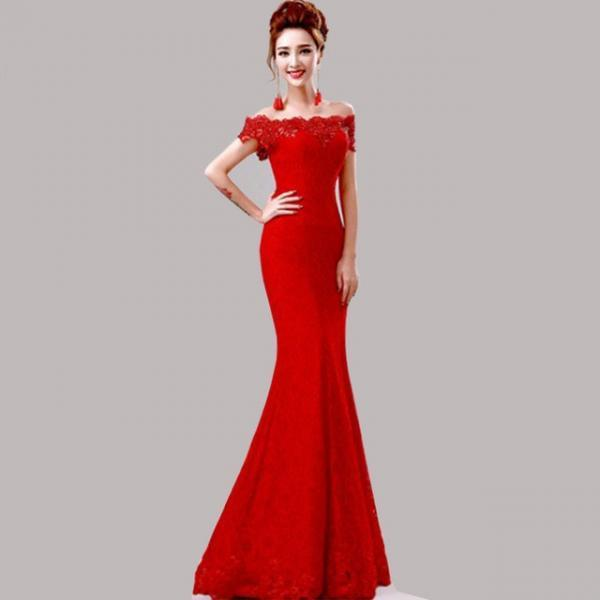 Elegant Crystal Beaded Red Royal Blue Lace Mermaid Long Evening Dresses 2016 Prom Party Dress Robe De Soiree Longue
