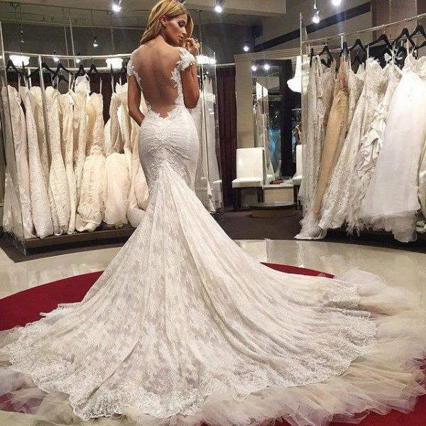Sexy Mermaid Lace Backless Wedding Dresses 2016 Cap Sleeves Appliques Bridal Gowns