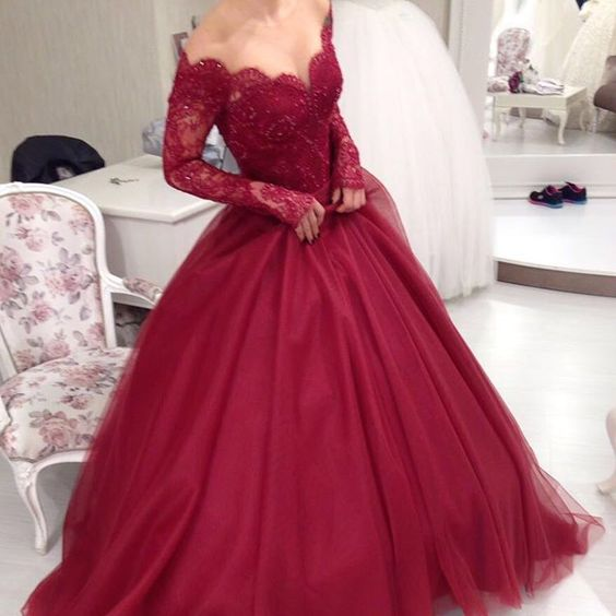 Sheer Scoop Neckline Long Sleeves Burgundy Ball Gowns Wedding Dresses,Elegant Party Dress, Colorful Wedding Dress, Red Wedding Dress, Ball Prom Dress, Long Sleeves Prom Dress, Custom Wedding Dress, White Wedding Gowns