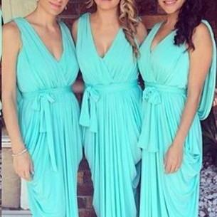 Sheath/Column V-neck Chiffon with Ruffles Cheap Bridesmaid Dresses, Chiffon Bridesmaid Dresses, Sexy Prom Dress, Green Bridesmaid Dress, Long Dress for Bridemaids, Wedding Party Dresses