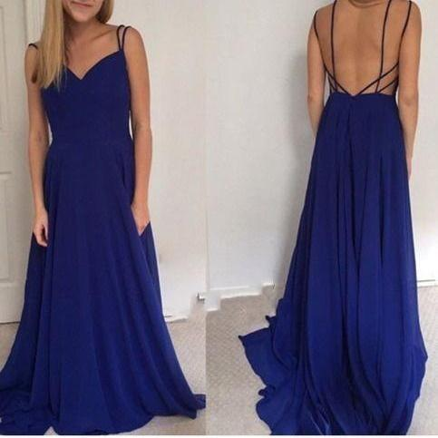 Simple Backless Chiffon Long Prom Dress for Teens, Unique Blue Long Evening Dress, Formal Dress 2016, Simple Prom Dresses