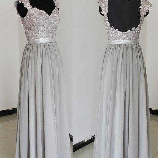 Elegant Sweetheart Floor Length Chiffon Silver Bridesmaid Dresses, Chiffon Prom Dresses With Appliques, Cheap Bridesmaid Dresses, Chiffon Long Bridesmaid Gowns, Wedding Party Dress