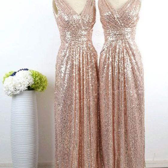 New Style Glamorous V-neck Floor Length Sleeveless Sequins Gold Bridesmaid Dress, Gold Sequins Bridesmaid Dresses, Charming Bridesmaid Dresses, Wedding Party Dress, Stylish and Chic Bridesmaids Dresses