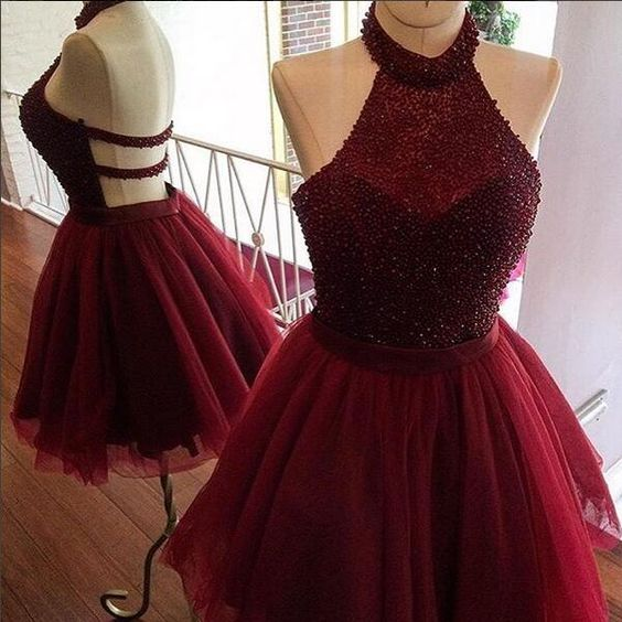 Burgundy Homecoming Dress,A line Homecoming Dress, Halter Party Dress, Beading Short Prom Dress, Women Homecoming Dress