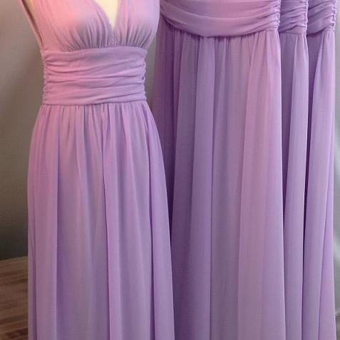Long Chiffon Bridesmaid Dresses V-neckline, Purple Bridesmaid Dresses, Simple Bridesmaid Dresses, Cheap Bridesmaids Dress, Wedding Party Gowns, Woman Dress, Long Prom Dress