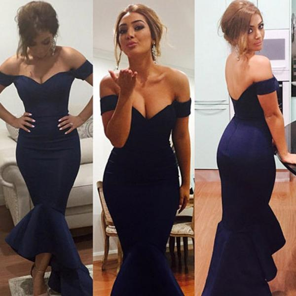 Navy Blue Off The Shoulder Satin Mermaid Evening Gown With Asymmetrical Skirt, Mermaid Prom Dress, Woman Dresses, Prom Party Dresses