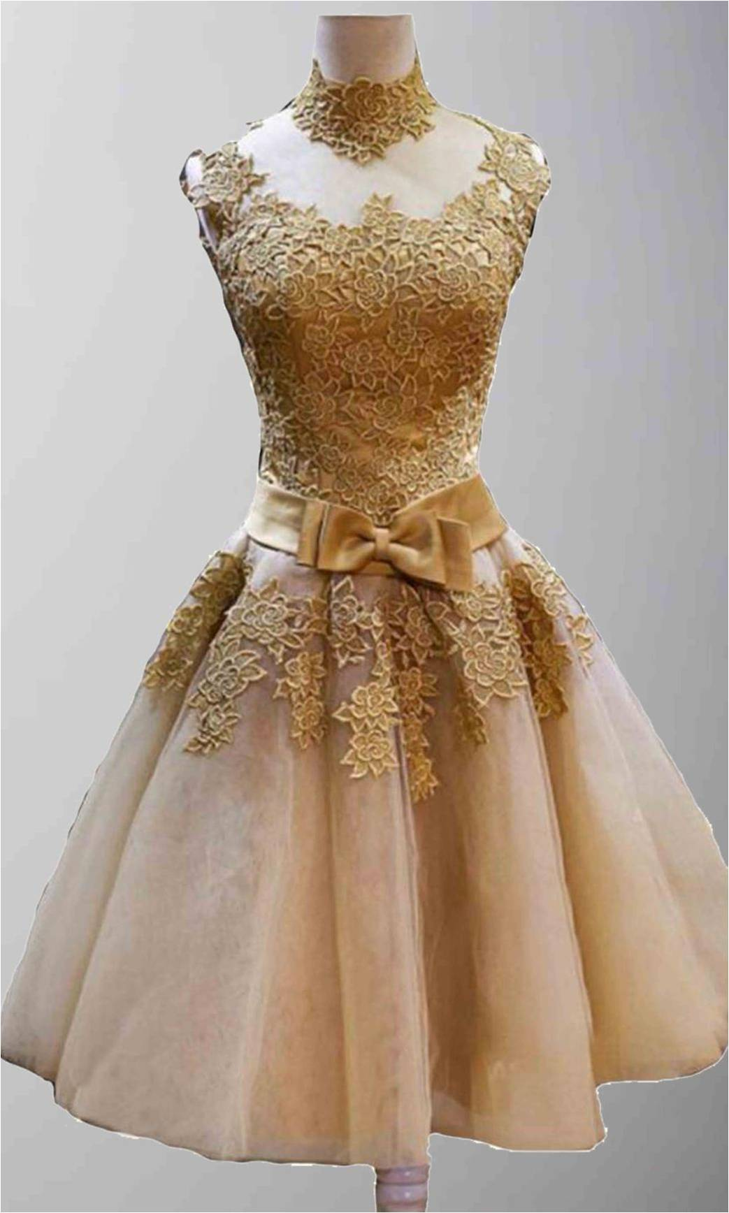 Custom Made Golden Vintage Princess High Neck Short Prom Dresses Graduation Tail