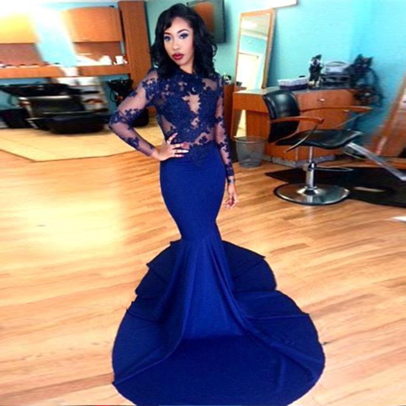 b87845d55d8a Long Sleeve Prom Dresses, Prom Dresses 2016, Gorgeous O-neck Top Lace Floor  Length Stretch Satin Mer on Luulla