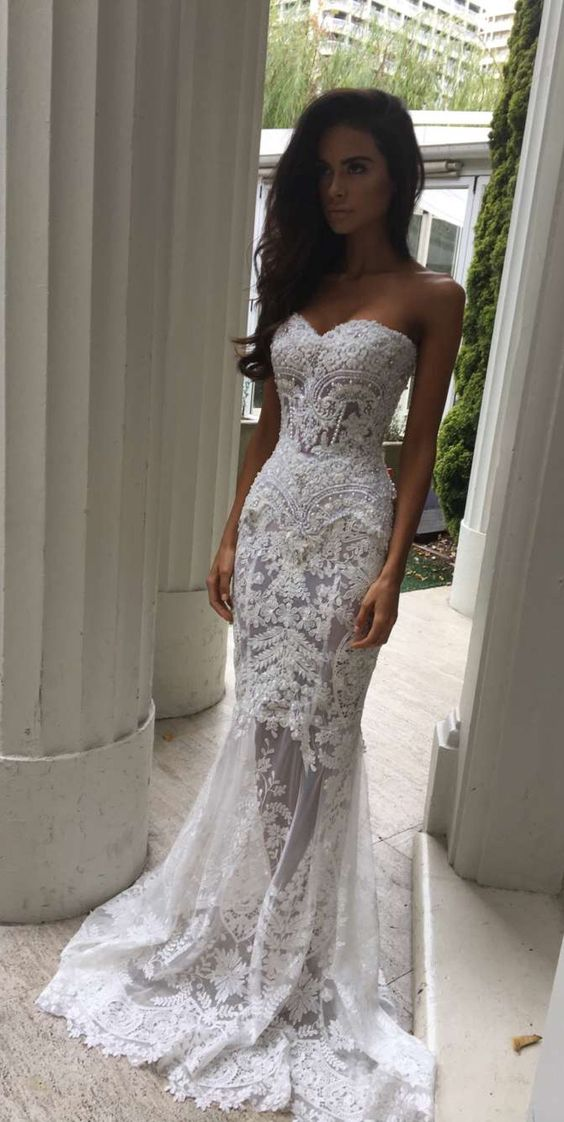 Charming Sheath Sweetheart Wedding Dresses With Appliques, Lace ...